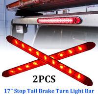 "2pcs 17"" LED Red Waterproof Car Truck Trailer Stop Rear Tail Brake Light Bar 12V"
