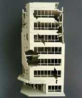 1/144 Outland Model White Ruined Damage Building Modle After War Assembling Gift