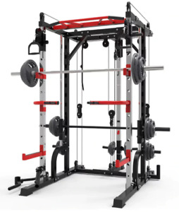Multi-Function Power Cage Smith Machine & Squat Rack System w 2 40Kg Dumbbells