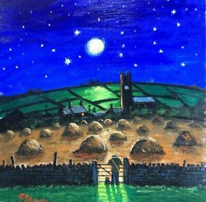 LARGE 60X60cm Harvest Moon Original oil painting by james downie FAST POST