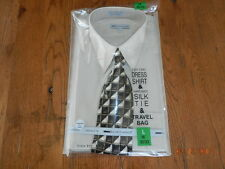 BOCA CLASSICS Mens Suit / Dress Shirt SIZE Large 16 - 32/33 Beige NWT Tie