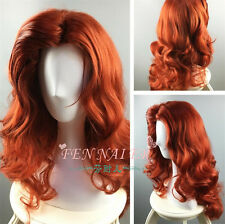 new front to raise female style copper red curly hair anime wigs of foreign++