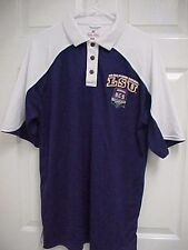 LSU 2008 TIGERS Allstate BCS National Championship Men Sewn Polo Shirt M Russell