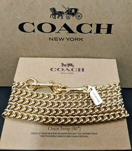 "COACH Shoulder Crossbody Chain Strap 46"" Metal Gold Tone F31126 New"