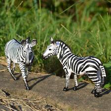 2 x PVC Zebras Toy Figurines Educational Realistic Wild Animal Figures for Kids