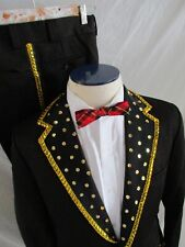 Sears Mexican mariachi black polyester knit sequin formal vintage suit 33 28 38S