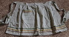 Vintage Green Gingham Half Apron with Ric Rac
