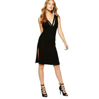 New BCBGeneration Womens 6 Black Band Detail Midi Dress Small nwt