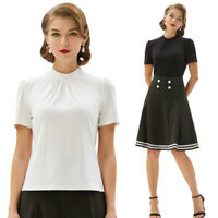 Mock neck Tops Shirt Blouse Casual Solid Slim Stretch Plain Womens Short sleeve