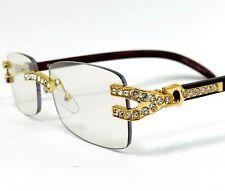 Mens Sunglasses Hip Hop Quavo Migos Rimless Diamond Square Frame Clear Lens Gold