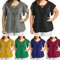 Plus Size Women Lace Chiffon T-Shirt Short Sleeve Casual Loose Top Blouse XL-5XL