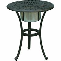 Patio End Table Cast Aluminum Furniture Elisabeth Ice Bucket Insert Bronze