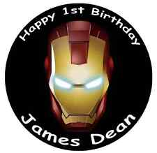 "IRON MAN Marvel Avengers Cake Topper Personalizzati Commestibili Wafer Carta 7.5"""