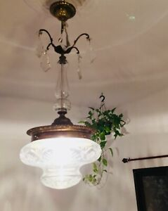 """✨ 34"""" Antique Brass Crystal French Crystal Pendalogue 1-Light Ceiling Lamp ✨"""