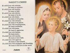 CATHOLIC HOLY CARD   PARENT'S CREED
