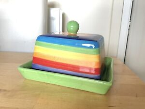 Windhorse Rainbow Pottery Fair Trade Butter Dish Ceramic Cheese