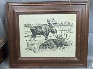 Vtg Mantique Jack Hines Moose Etching Leather Canvas Wood Frame Wall Art Decor