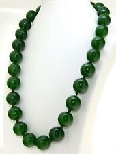 "Gemstone Beads Necklace 36"" Aaa 14mm Handmade Natural Green Jade Round"