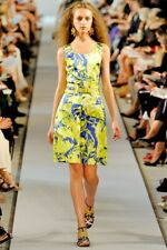 OSCAR DE LA RENTA SS12 Lime Blue White Print Silk Sateen Band Waist Dress sz 4