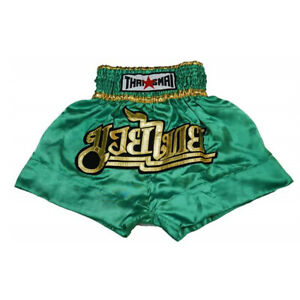 Kick Boxing Muay Thai Shorts Mma Men Kids Grappling Satin Pants Wear Gym Green