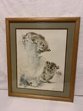 "Ralph Thompson Framed And Matted Cubs Hunting Lizard  Frame Is 22""x26"""