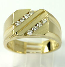Mens diamond ring 14K yellow gold channel round brilliant geometric .40CT sz10.5