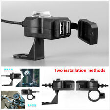 12V Motorcycle Handlebar Cell Phone GPS Dual USB Power Charger Socket Waterproof