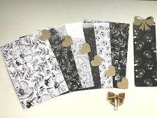 A5 Filofax Planner Dividers x 6 + Bow Paper Clip - Black Glitter Flower Bows