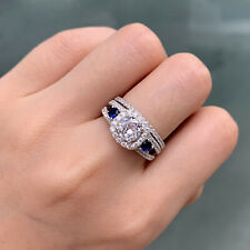 Silver Engagement Wedding Ring Set Sz 8 Newshe 1.5ct Round Cz Blue 925 Sterling