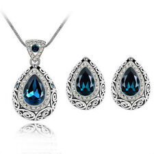 Bridal Necklace Earrings Set Rhinestone Crystal Water Drop Protection Pendant