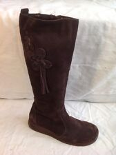 Lotus Brown Knee High Suede Boots Size 3.5