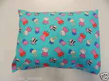 Child Toddler Cot Pillowcase - Peppa Pig on Aqua - Great Gift!! 100% Cotton