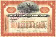 1908 Alma Cement Stock Certificate
