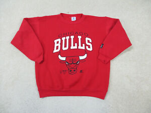 VINTAGE Chicago Bulls Sweater Youth Extra Large Red White Basketball Kids Boys *