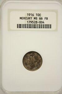 1916 Mercury Dime NGC Old Holder MS66 FB 179528-004