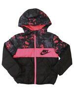 Nike Toddler's Zip Front Racer Pink/Black Hooded Puffer Jacket Sz: 2T