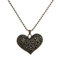 Hot Sale Antique Silver Sweet Hollow Flower Carving Heart Shape Pendant Necklace