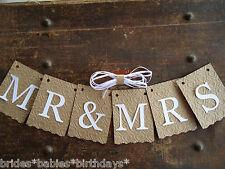 MR & MRS Bunting Banner Flag Garland Embossed Brown White Wedding Photo Prop DIY