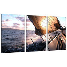 Set of 3 Blue Wall Pictures Split Canvas Art Print Yachts Sailing 3096