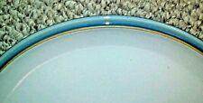 Denby BLUE JETTY DINNER PLATE * WHITE with BLUE TRIM * Excellent Condition