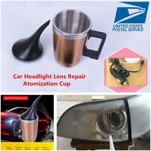 12V 500ML Car Headlight Lens Repair Restoration Kit Polishing Atomization Cup-US