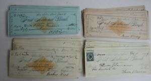 Wholesale Lot of 100 Old 1870's-80's ANN ARBOR MICH. BANK CHECKS Revenue Stamps