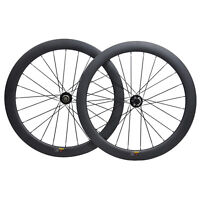 700C Road Bike Carbon Wheelset Disc brake Clincher Tubeless  Floating Rotor 55mm