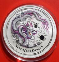 """Australien 1 Dollar 2012 Silber 1 Oz  Year of the Dragon """"Grey"""" #F 2503"""