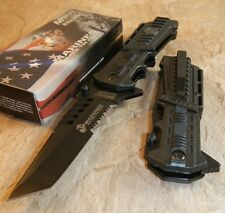 USMC Marines Spring Assisted Open Tactical Tanto Black Rescue Pocket Knife NEW