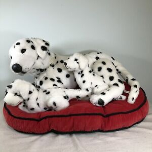 FAO Schwarz Plush Dalmation Set Mom & 2 Pups In Bed XL Rare