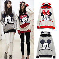 Womens Mickey Minnie Mouse Hoodies Sweater Lady Hooded Jumper Pullover Coat Tops
