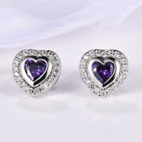 Mystical  Love Heart Purple Amethyst Gemstone Silver Woman Stud Hook Earrings