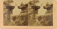USA Wisconsin Stand Rock Lastre San Croce, Foto Stereo Vintage Albumina