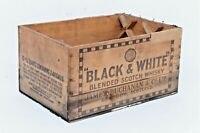 RARE ANTIQUE BLACK & WHITE WHISKY WOODEN SHIPPING CRATE BOX 17""
